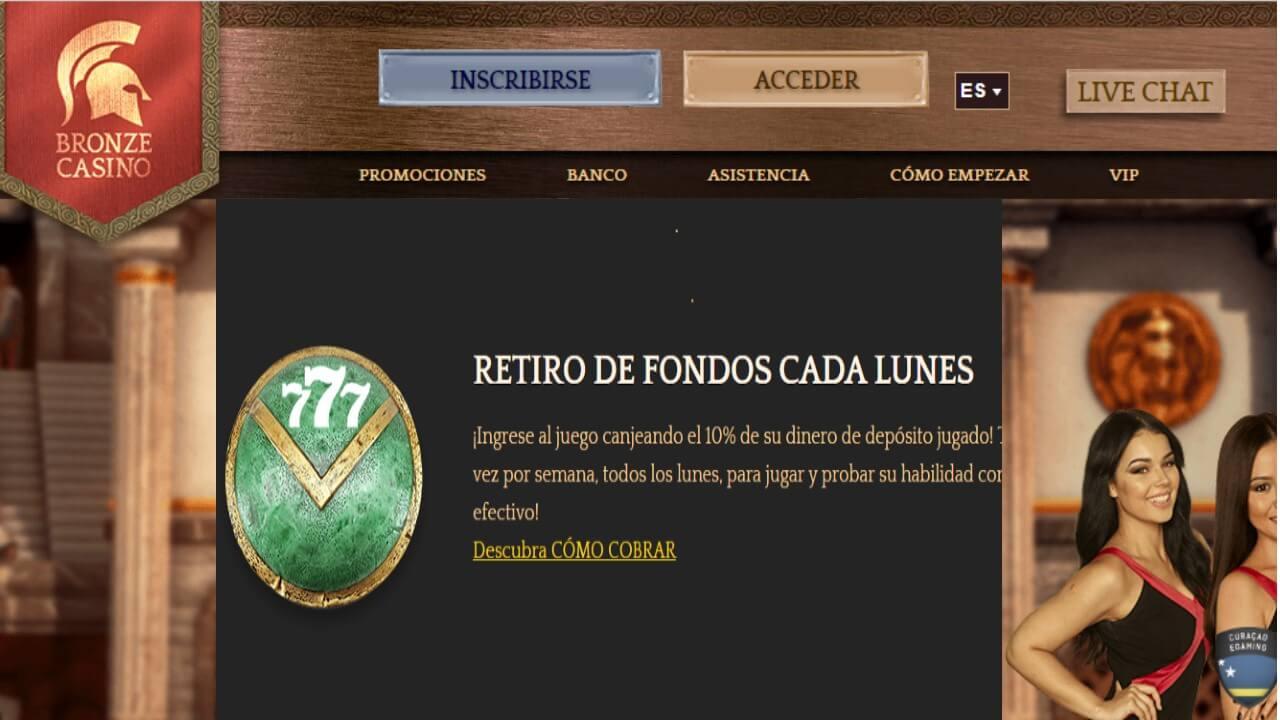 Bronze Casino reembolsos por retiros los lunes hasta 10%