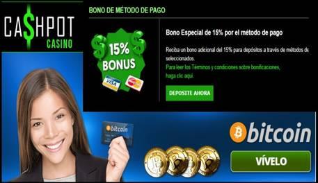 Por método de ingreso el casino Cashpot otorga hasta 15% promocional