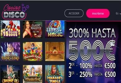 Obtenga hasta 300% promocionales y 500 euros en Casino Disco