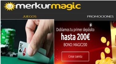Consiga hasta 200 euros por primer depósito en Merkurmagic