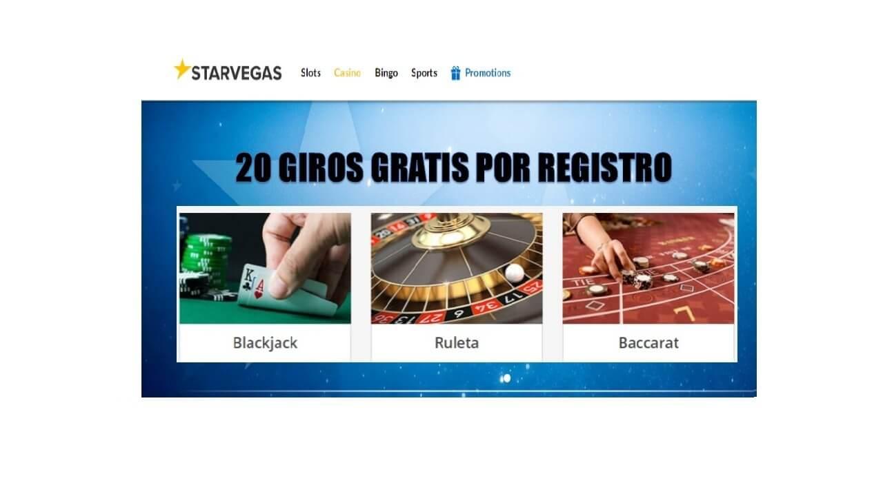 Por registro hasta 20 giros gratis Casino Starvegas